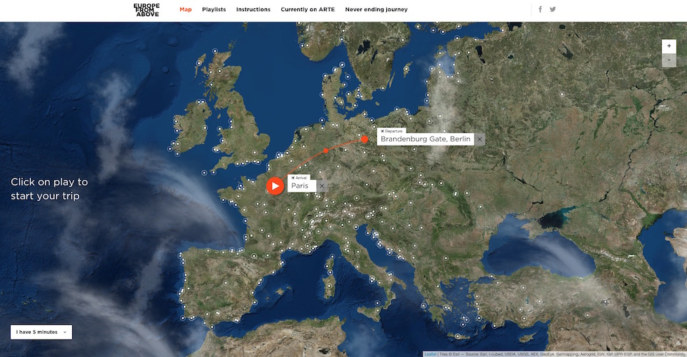 Europe from above - digital experience allows users to fly over the continent's most beautiful locations
